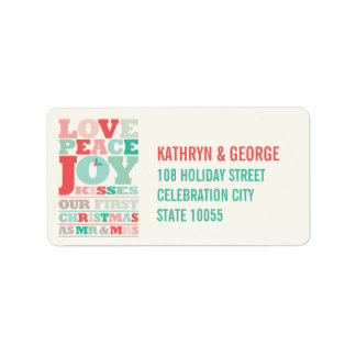First Christmas Mr and Mrs Holiday Photo Greetings Custom Address Label