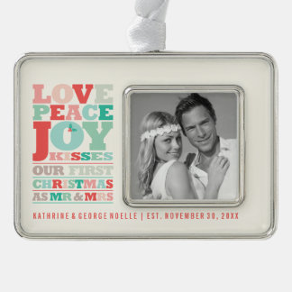 First Christmas Mr and Mrs Holiday Photo Ornament