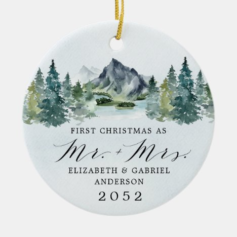 First Christmas Mr and Mrs Mountains Trees Wedding Ceramic Ornament