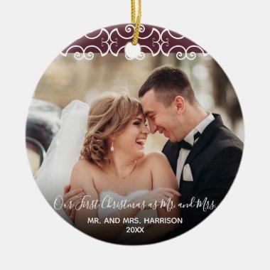 First Christmas Mr. & Mrs. Burgundy 2 Photo Ceramic Ornament