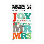 First Christmas Mr & Mrs Color Text Holiday Stamps