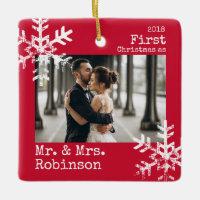 First Christmas Mr. & Mrs. Custom Photo Snowflakes Ceramic Ornament