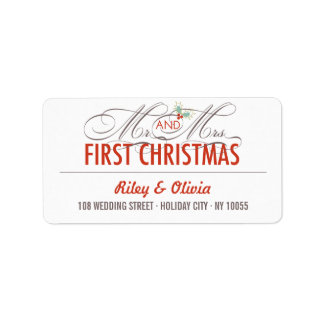 First Christmas Mr. & Mrs. Holiday Address Labels