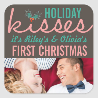 First Christmas Mr. & Mrs. Holiday Kisses Sticker