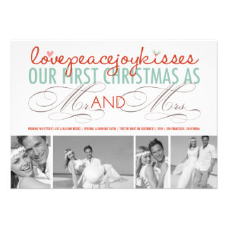 First Christmas Mr Mrs Holiday Photo Greetings Personalized Invitations