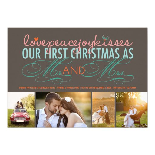 First Christmas Mr. & Mrs. Holiday Photo Greetings Personalized Invitation