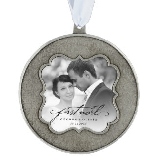 First Christmas Mr. & Mrs. Holiday Photo Ornament Scalloped Pewter Christmas Ornament