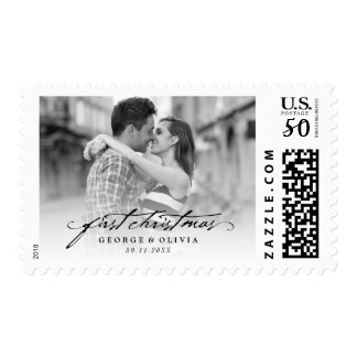 First Christmas Mr & Mrs Holiday Photo Stamp