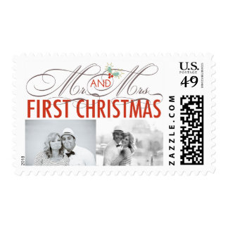 First Christmas Mr. & Mrs. Holiday Photo Stamps