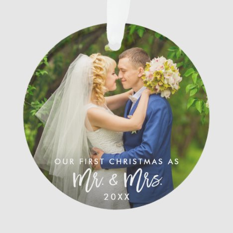 First Christmas Mr. & Mrs. Photo Brush Script Ornament