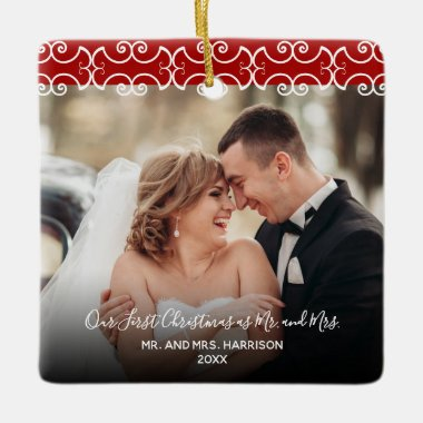 First Christmas Mr. & Mrs. Red 2 Photo 2 sided Ceramic Ornament