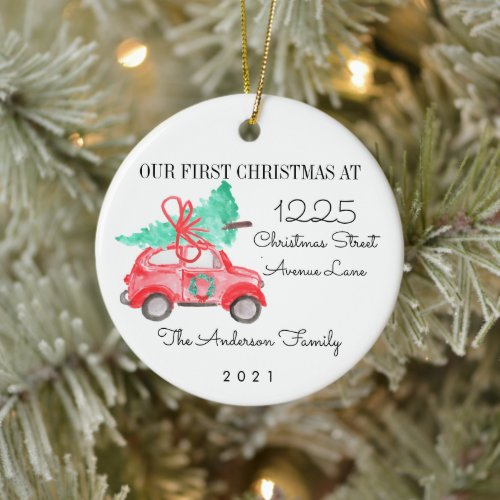 First Christmas New Home For the Holidays Car Tree Ceramic Ornament