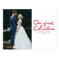 First Christmas   Newlyweds Photo Christmas Postcard