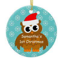 First Christmas ornament with baby santa owl