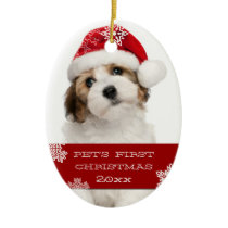 First Christmas Pet Photo Ornament   RED