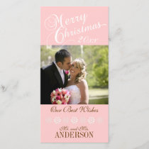 First Christmas Photo Cards Pink Snowflakes