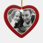 First Christmas Photo Frame - Heart Double Sided Double-Sided Heart Ceramic Christmas Ornament