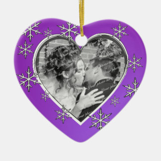 First Christmas Photo Heart Ceramic Ornament