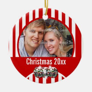 First Christmas photo modern personalize Double-Sided Ceramic Round Christmas Ornament