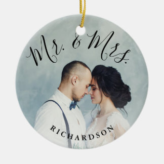 First Christmas Photo | Mr. and Mrs. Ceramic Ornament
