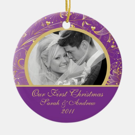 First Christmas Photo Ornament Gold Floral Purple