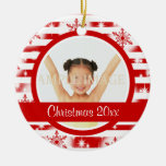First Christmas photo personalize Double-Sided Ceramic Round Christmas Ornament
