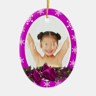 First Christmas photo PERSONALIZE pink Double-Sided Oval Ceramic Christmas Ornament