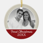 First Christmas Photo - Single Sided Double-Sided Ceramic Round Christmas Ornament