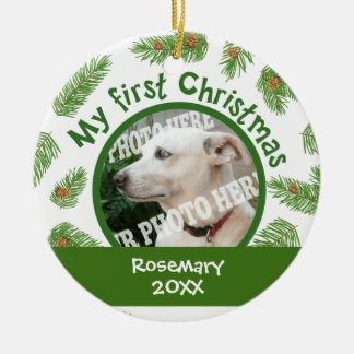 First Christmas Pine Cones Add Your Pets Picture Double-Sided Ceramic Round Christmas Ornament