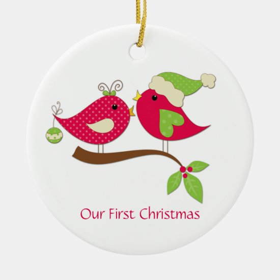 First Christmas Pink Polka Dot Love Birds on Holly Ceramic Ornament