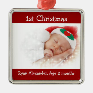 First Christmas Red and White Photo Ornament
