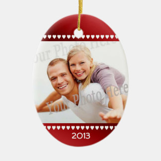 First Christmas Red Hearts Photo Frame Christmas Ornaments