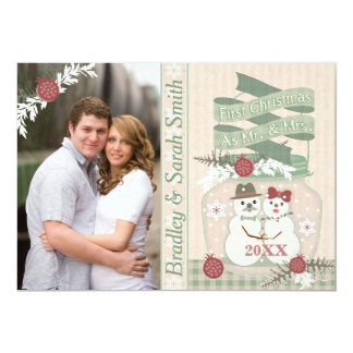 First Christmas Snow Couple Photo Greeting Card