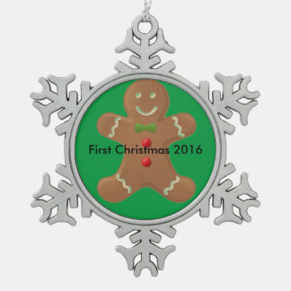 First Christmas Snowflake Pewter Christmas Ornament