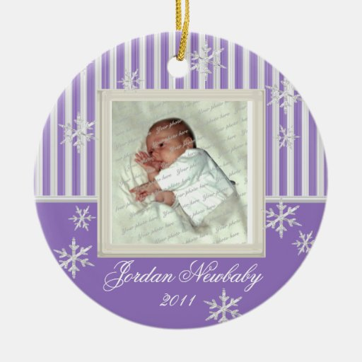 First Christmas Snowflakes Violet Double-Sided Ceramic Round Christmas Ornament
