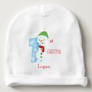 First Christmas Snowman Baby Beanie