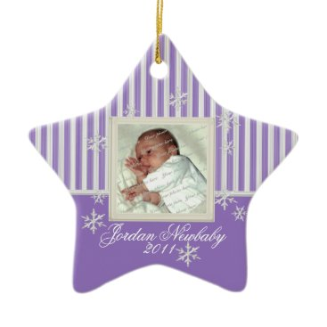 Christmas Themed First Christmas Star and Snowflakes Purple Ceramic Ornament