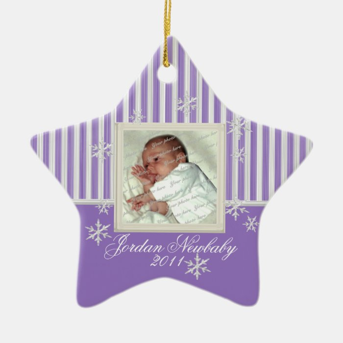 First Christmas Star and Snowflakes Purple Ceramic Ornament