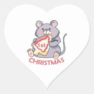 First Christmas Heart Sticker