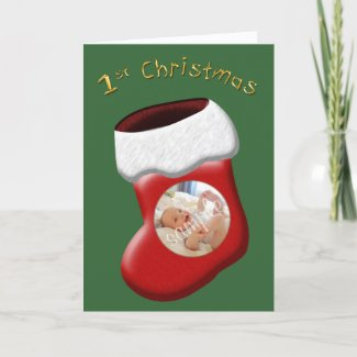 First Christmas Stocking Photo Card card