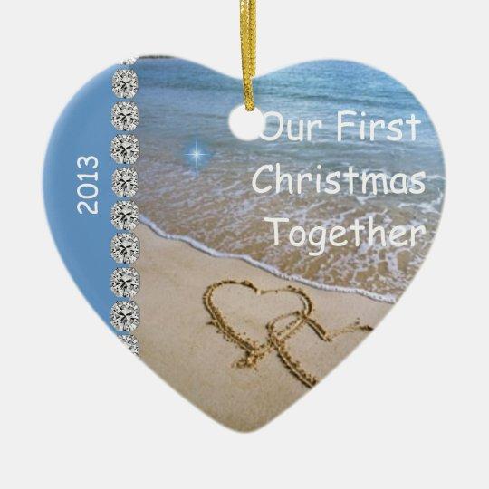 First Christmas TOGETHER BEACH 2013 CUSTOM ORNAMEN Ceramic Ornament