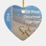 First Christmas TOGETHER BEACH 2014 CUSTOM ORNAMEN Christmas Ornaments