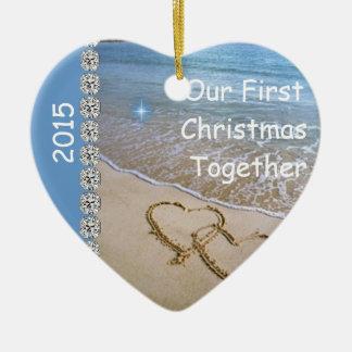 First Christmas TOGETHER BEACH 2015 CUSTOM ORNAMEN Ceramic Ornament