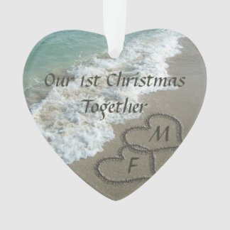 First Christmas Together Couple Hearts Beach Sand Ornament