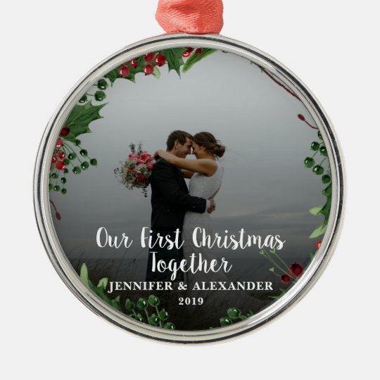 First Christmas Together couple newlyweds photo Metal ...