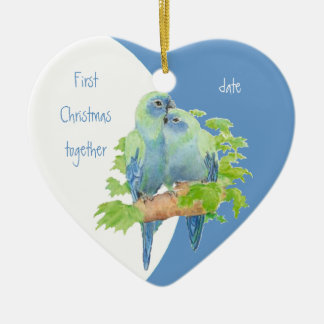 First Christmas Together Dated Cuddling Birds Ceramic Ornament