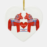 First Christmas Together Dated Swedish Dala Horse Double-Sided Heart Ceramic Christmas Ornament