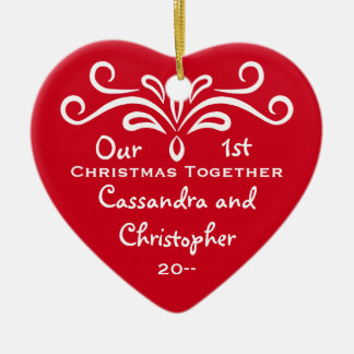 First Christmas together heart Ceramic Ornament