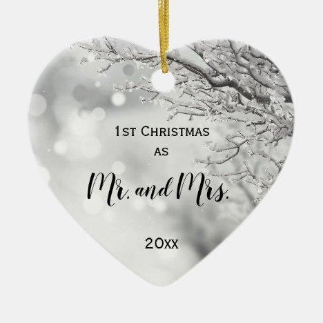 First Christmas Together Mr and Mrs Winter Wedding Ceramic Ornament