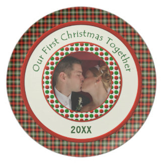 First Christmas Together Personalized Dated  Photo Plate
